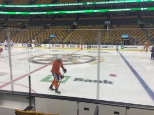 Gyrba partaking in morning skate before a game against the Boston Bruins.
